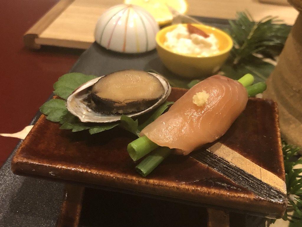 ギンヒカリ昆布〆 あさつき巻 とこぶしの旨煮